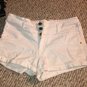 High Waisted White Shorts